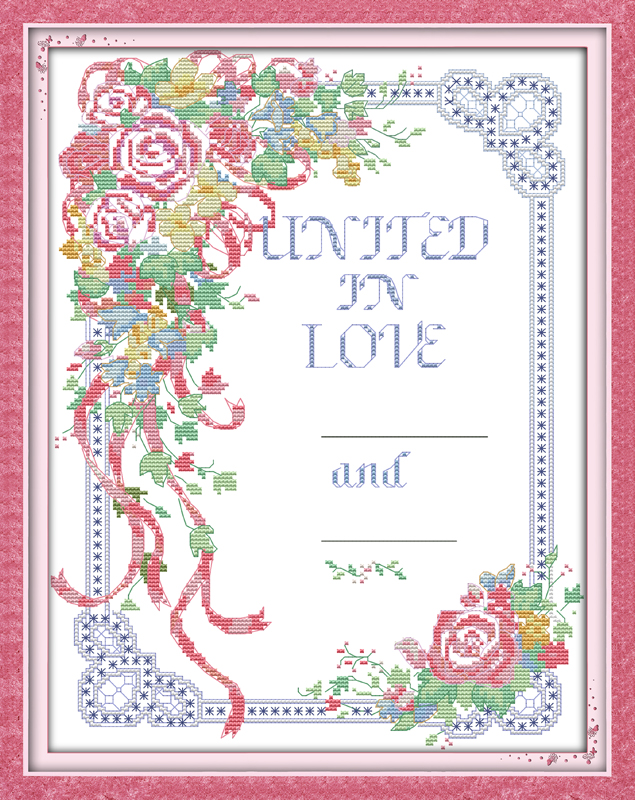 Wedding vows cross stitch kit flower 18ct 14ct 11ct count printed ...