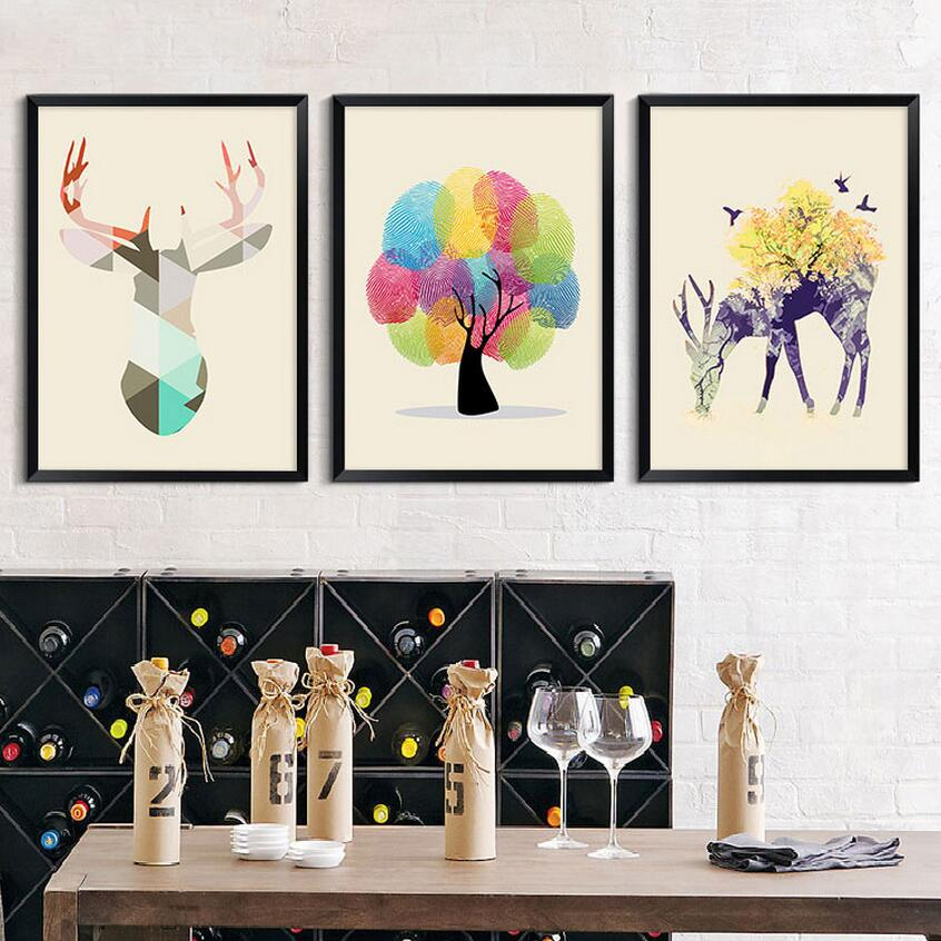 Triptych Nordic Paintings Minimalist Elk Butterfly Hipster Wall Art Picture Canvas Painting Living Room Bedrooms Home Decoration