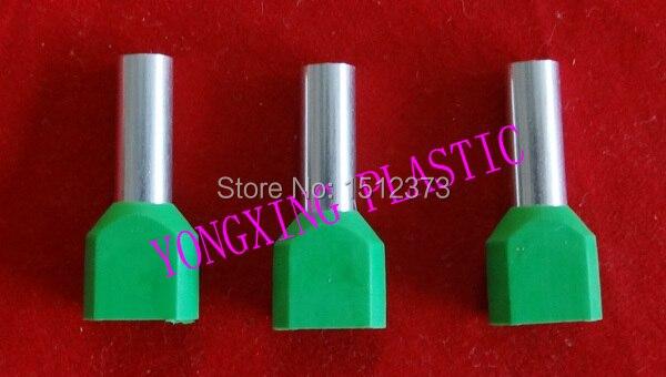 250 шт./лот TE2508 двойной шнур Конец изолирующий контакт 2*2.5mm2 провода наконечники 5 разных цветов