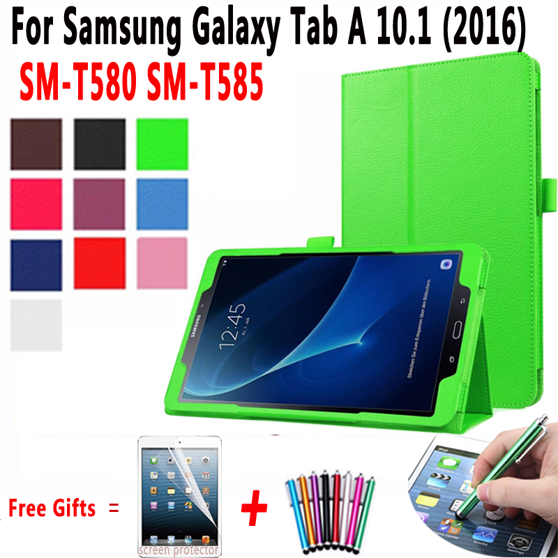 Lichee Style PU Leather Stand Flip Case for Samsung Galaxy Tab A 10.1 2016 T580 T585 SM-T580 SM-T585 Cover with Screen Protector