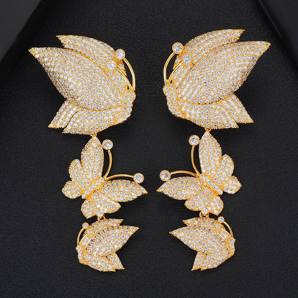 Image 5 - GODKI Luxury Butterfly Long Dangle Earrings For Women Wedding Cubic Zircon Crystal CZ Dubai Bridal Earring Fashion Jewelry 2019-in Drop Earrings from Jewelry & Accessories