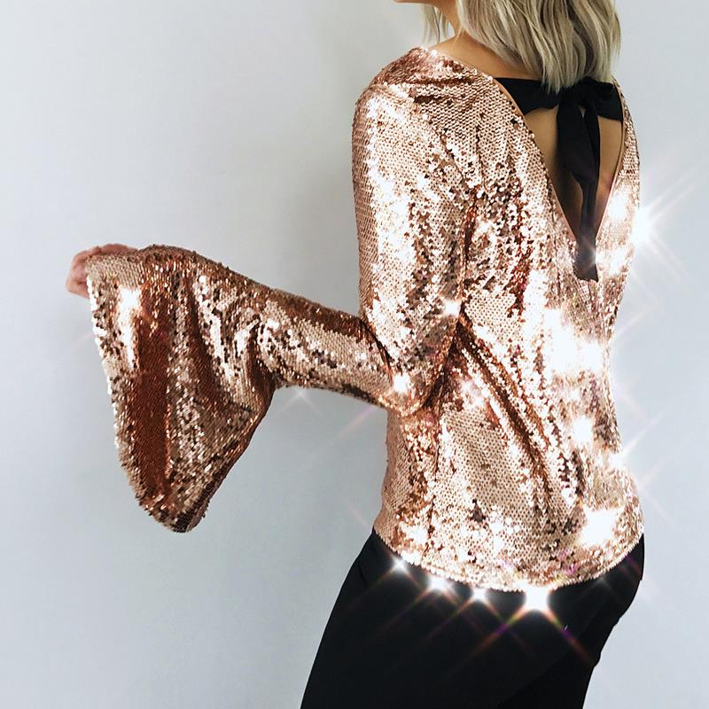 Womens Sequins tops blouses shirt elegant horn sleeves back bow ties casual party fashion camis blusas feminino WS5643y