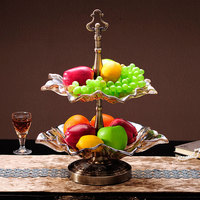 European living room large crystal glass fruit bowl coffee table decoration ornaments large double dry fruit plate ZP3151420