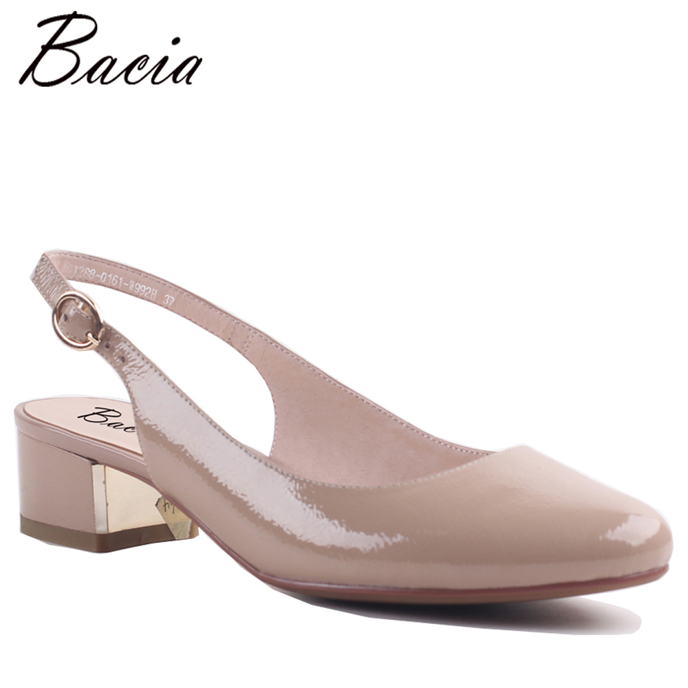 Bacia Full Grain Leather Sandals 2 Color about 3.6cm Heel Summer Shoes Women Leisure Genuine Leather Size 35-42 MWA001 цена 2017