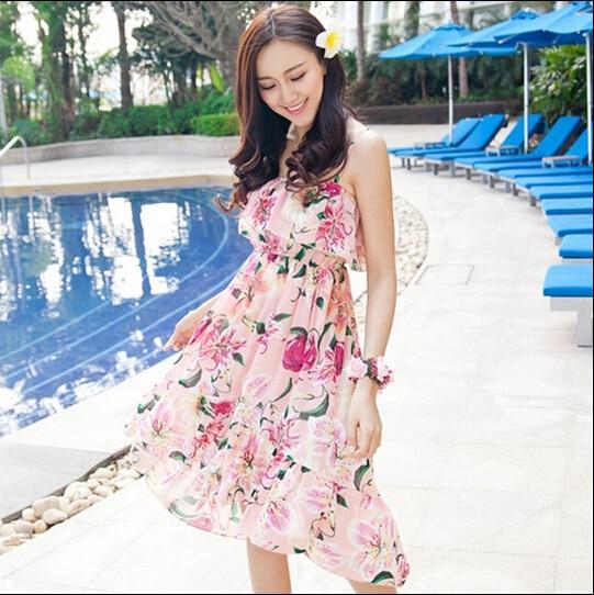 2017 Summer Beach Dress Dresses For Women Sling Short Chiffon Casual Flower Fl