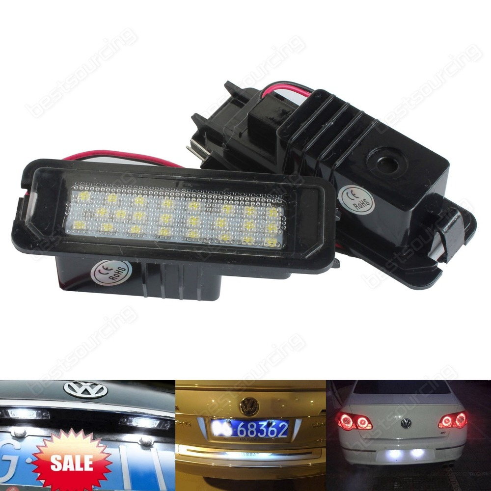 VW LED Licence Number Plate Light Canbus No Error Golf GTI MK4 MK5 Eos Scirocco (CA198) 2pcs canbus error free 55 smd 3030 7440 w21w led backup reverse light bulbs for 2010 2014 volkswagen mk6 golf or gti 6000k whit