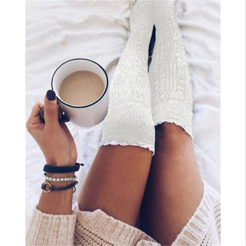 2017 Ladies Women Stockings Winter Soft Knit Knee Long Boot Thigh High Warm Stockings