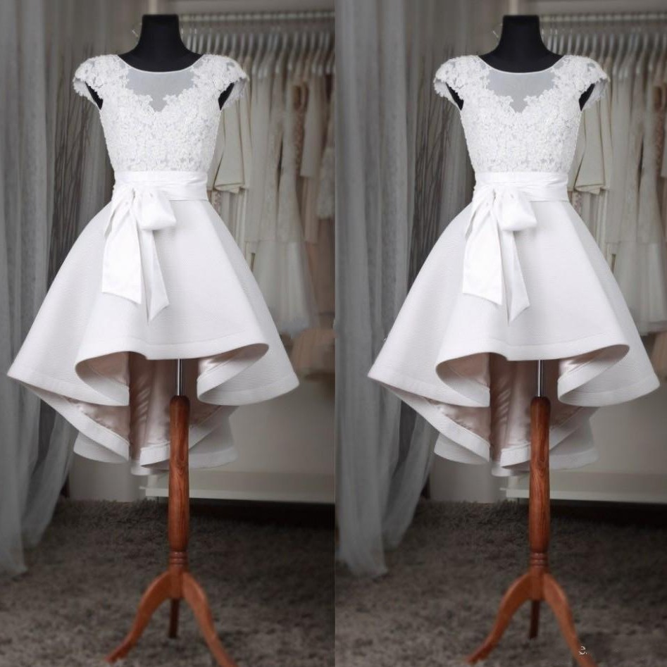 White High Low Evening Dresses Lace Illusion O Neckline Cap Sleeves Satin Evening Gowns robe de