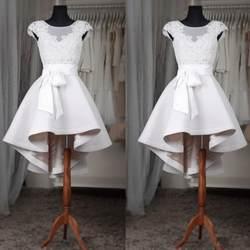 Белый Высокий Низкий Вечерние платья Кружева Иллюзия о декольте Кепки рукава атласные вечерние платья вечернее платье миди до середины