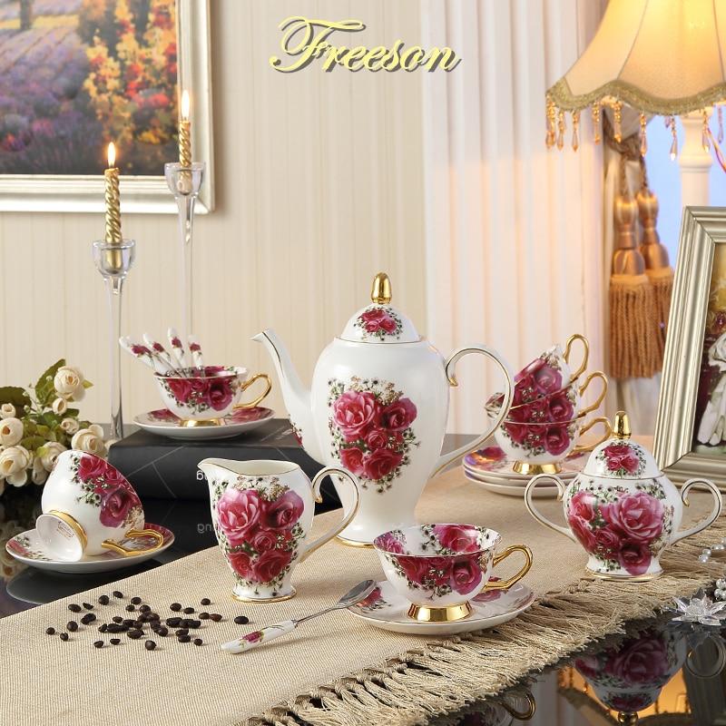Vintage Gül Sümüyü Çin Qəhvə Dəsti Avropa Çini Çay Kuboku Saucer Mug Keramika Şəkər Qazan Kavanoz Teatime İçki İçməli Toy Hədiyyə