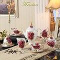 Vintage Rose Bone China Kaffee Set Europa Porzellan Tee Tasse Untertasse Becher Keramik Zucker Topf Krug Glas Teatime Drink Hochzeit geschenk