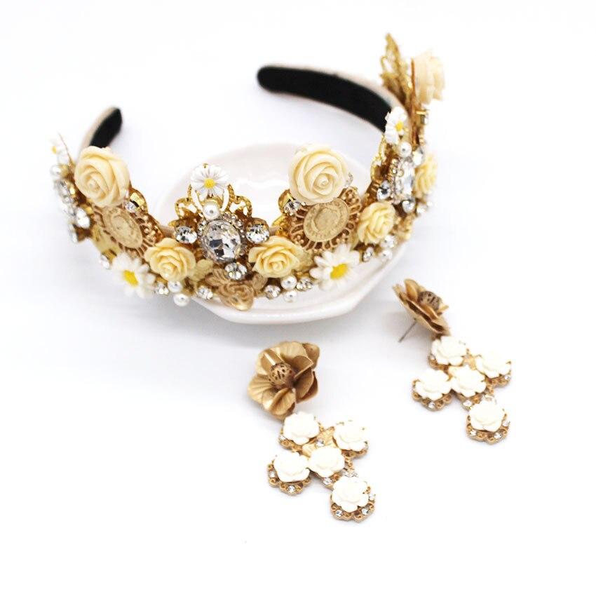New European Baroque Exaggerated Fashion Headband White Porcelain Flower Cross Geometry Retro Palace Crown Headband1095