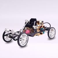 HowPlay single cylinder electric engine car DIY metal assembly model mechanical assembly vintage car adult outdoor toys children