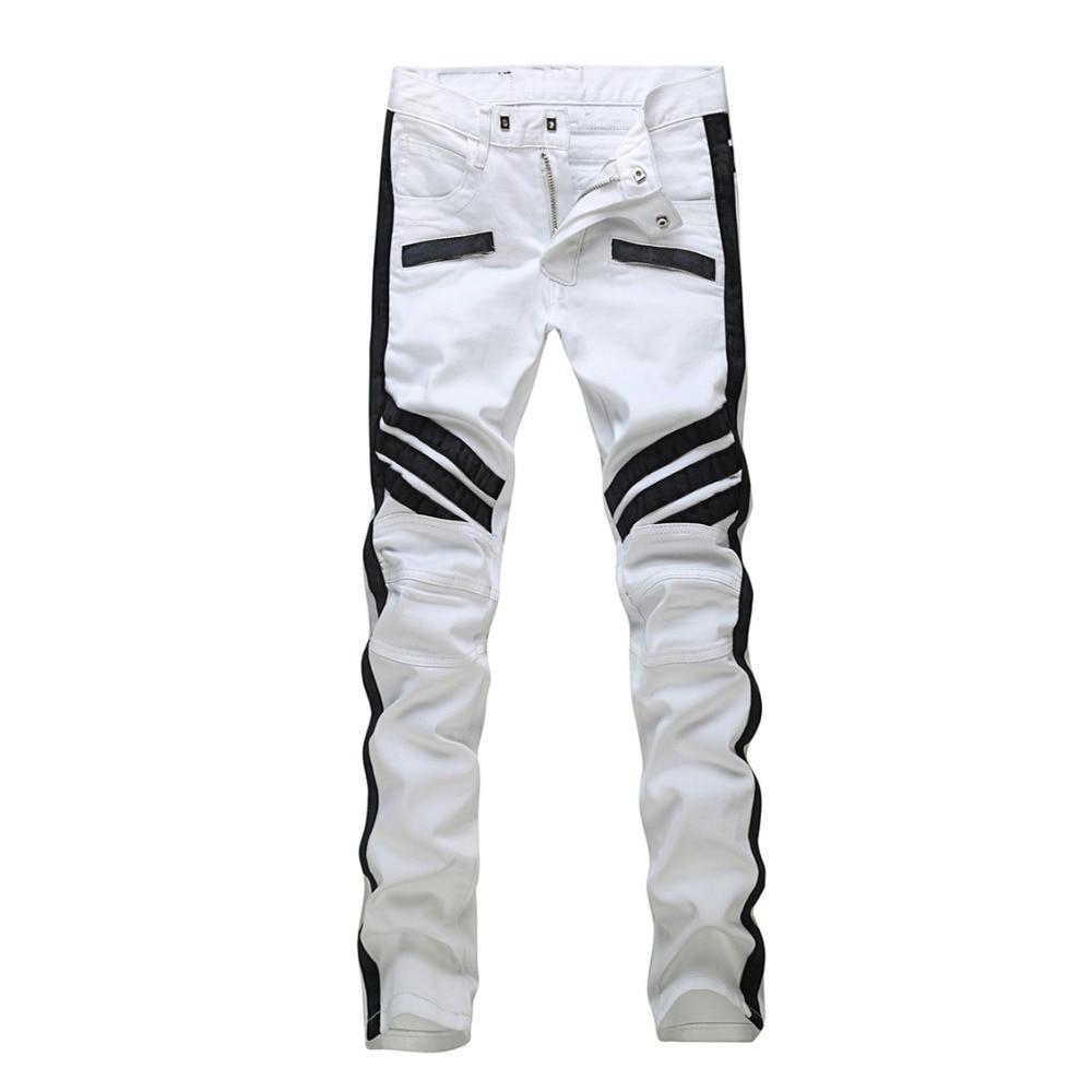 mens patchwork slim white jeans pants straight fit narrow. Black Bedroom Furniture Sets. Home Design Ideas