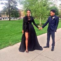 Two Piece See Through Black Lace Prom gown Long Sleeve Detachable Coat Floor Length Mother of the Bride Dresses with jacket