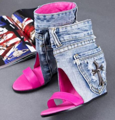Spring Autumn Denim Boots Elegant Comfortable Ladies Fashion High Heel Sandle Sexy Woman Wedge Hollow Out Female Casual Shoe the new spring and summer ms south korea ensure their boots comfortable show female water thin antiskid tall canister shoe