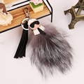 Real Fox Fur Galeries Double face Fur Key chain Chaveiro Sleutelhanger Key Ring pom pom Bag Key Car Charming Pendant XL0488 A1