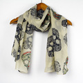 Free Shipping Wholesale Newest 100% Chiffon Fabric 160*70cm 10 pcs / 1 lot  Fashion Printed Skull Scarf