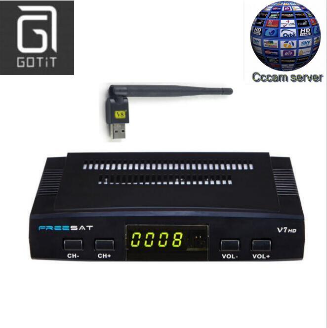 Prix pour Freesat V7 DVB-S2 Satellite TV Récepteur avec 1 Année Europe Espagne Français Canal + CCCAM 4 Clines et 1 USB WIF Dispositif Set Top Box