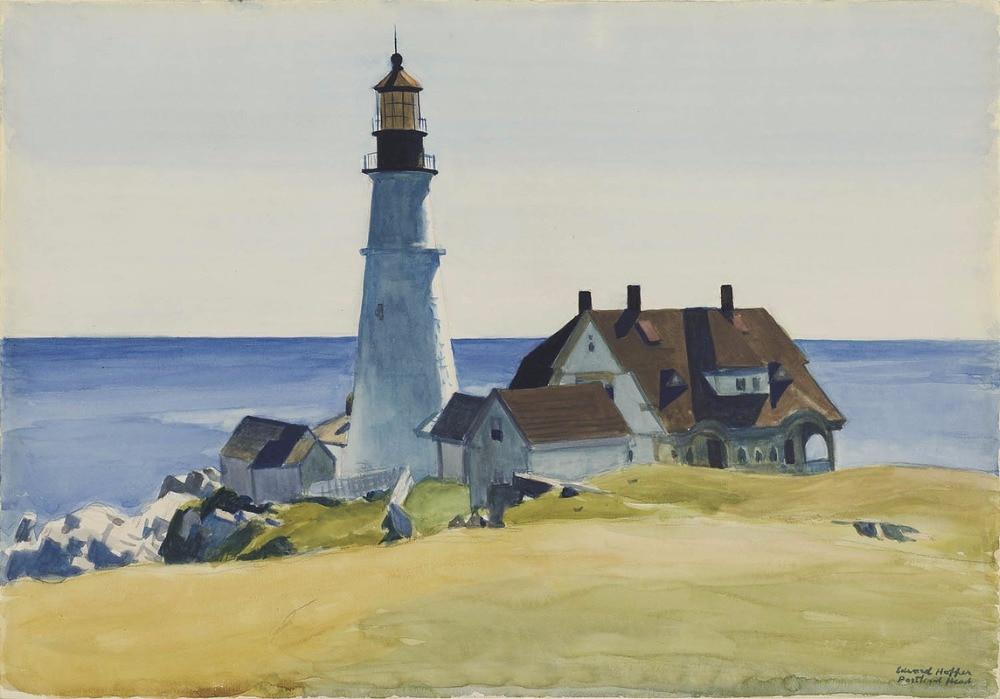 Картины маслом воспроизводится профессиональный художник на холсте, маяк и здания, Портленд головы, Кейп-Элизабет, Мэн, 1927 ...