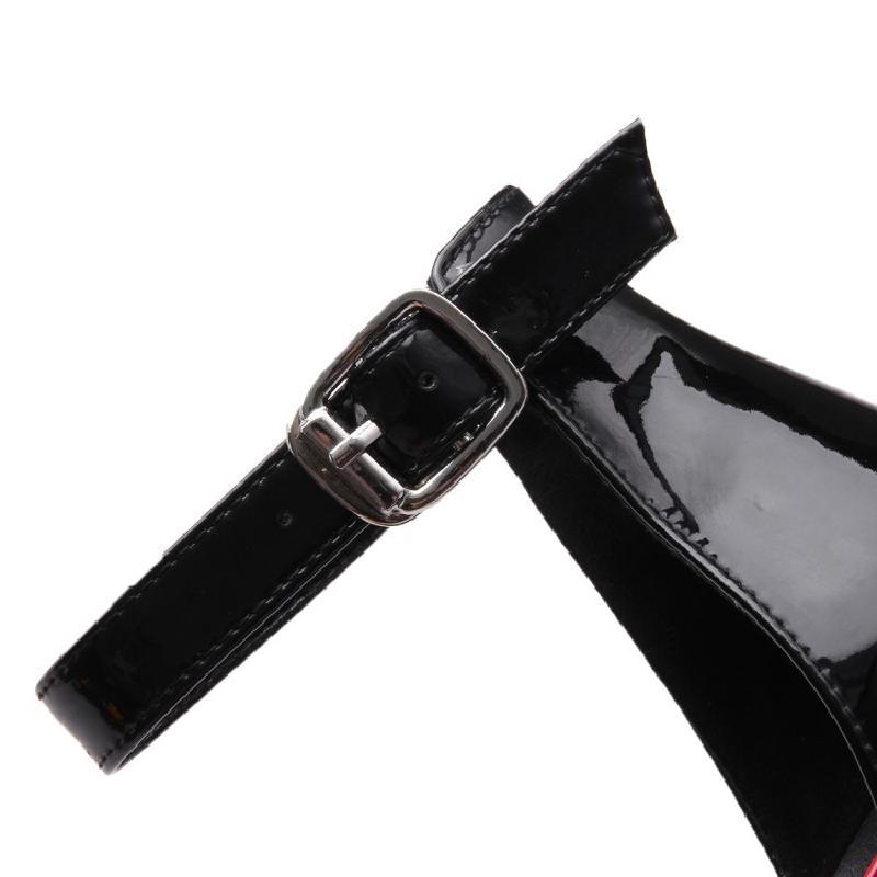 Zapatos Estrecha Tacones Bombas Dames Mujer Schoenen Rhinestone Europeas Punta Tacon Tacón Charol Sexy Mujeres Grueso qIw4wtY