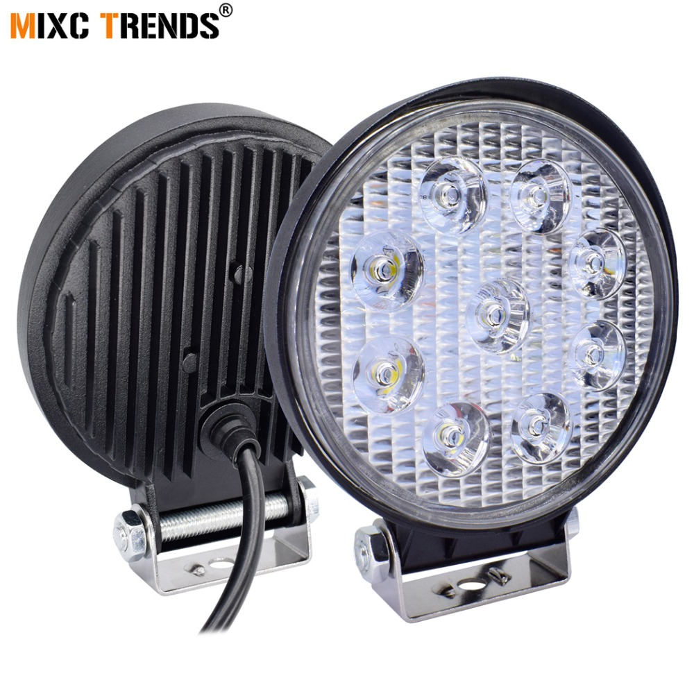 цена на 1Pair 27W LED Work Light 4 Inch 12V Car Auto SUV ATV 4WD 4X4 Offroad LED Fog Lamp Motorcycle Truck Headlight LED Car lights