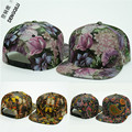 PU Leather Floral Print Baseball Cap Snapback Flowers Hip Hop Caps  , DIY Iron Logo Sign Acceptable ,12 Colors Free shipping !