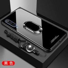 Funda de lujo para Samsung Galaxy A30 A50, cristal templado duro con soporte, anillo, imán, funda protectora trasera para samsung a50 a30