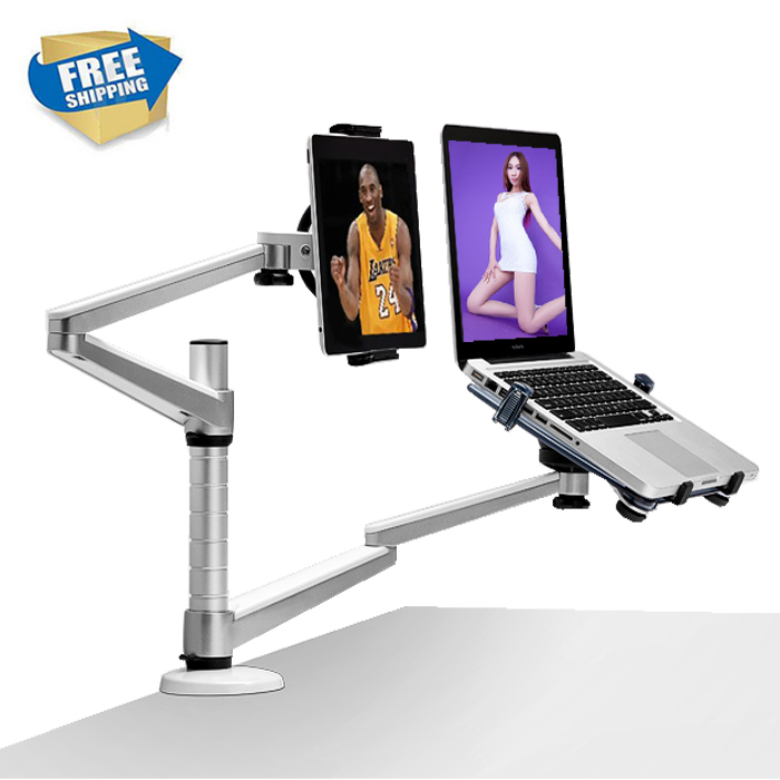 Full Motion Dual Arm 10-15 inch Laptop Holder + 7-10 inch Tablet PC Stand Rotate Holder Desktop Stand oa 7x lazy tablet laptop stand adjustable height rotatable holder for notebook within 10 15 inch and tablet pc 7 10 inch