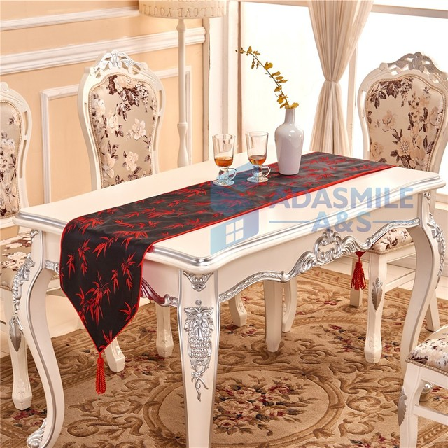 Chinese Bamboo Design Wedding Decoration Table Runner Party Dinning Table  Flag Embroidered Banquet Table Cloth