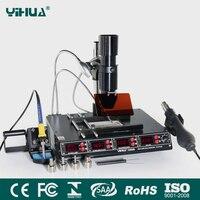 YIHUA 1000B 3 функции в 1 Инфракрасная паяльная станция SMD горячего воздуха пистолет + 75 Вт паяльники + 540 Вт станция предварительного нагрева 110 В/220