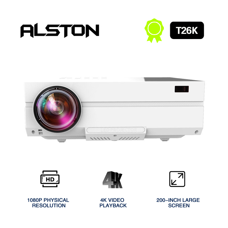 ALSTON Full HD Projector T26K Native 1080P 5500 Lumens Video LED LCD Home Cinema Theater HDMI VGA USB TV 3D T25 T26 Beamer(China)