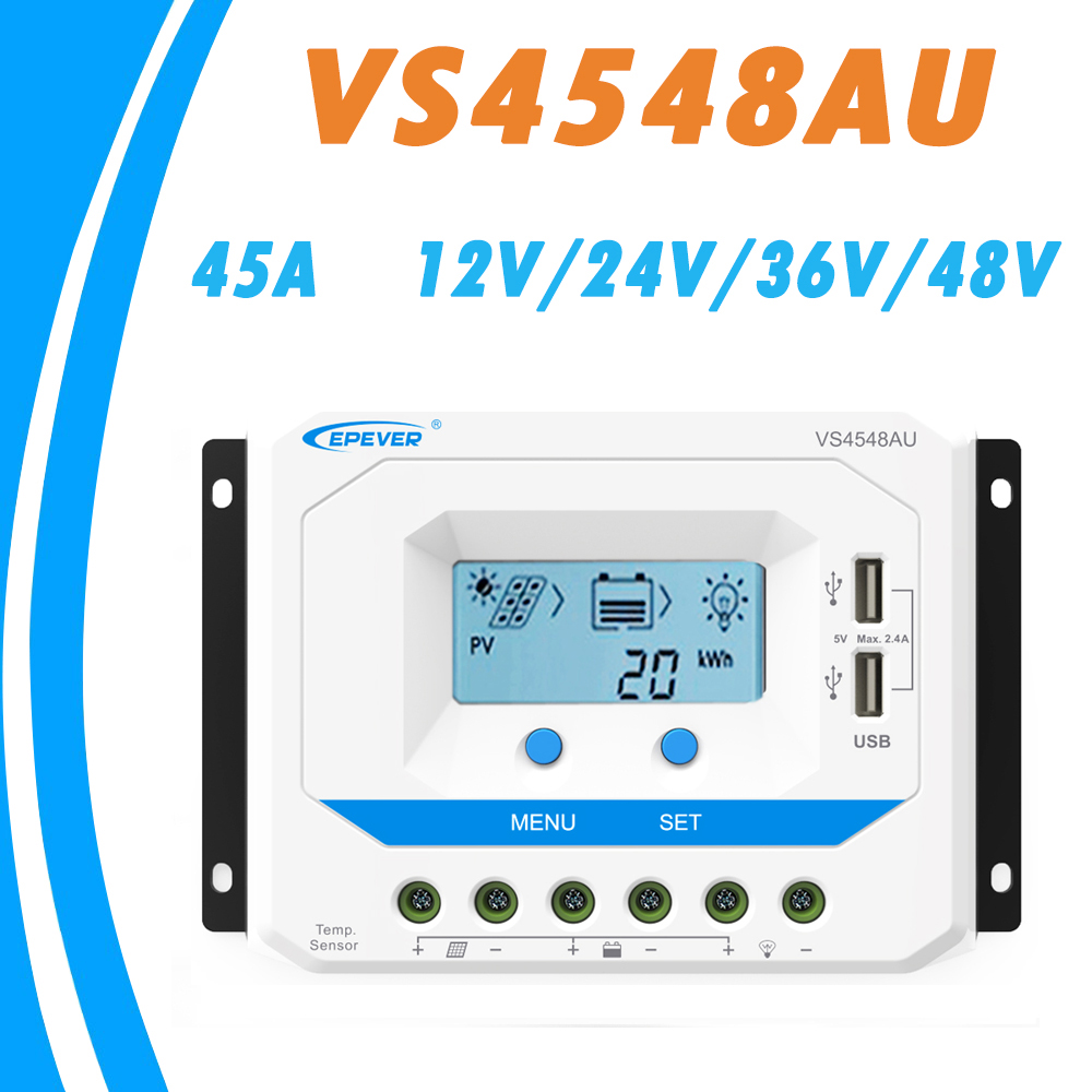 EPEVER 45A Solar Controller 12V 24V 36V 48V Auto VS4548AU PWM Charge Controller with Built in