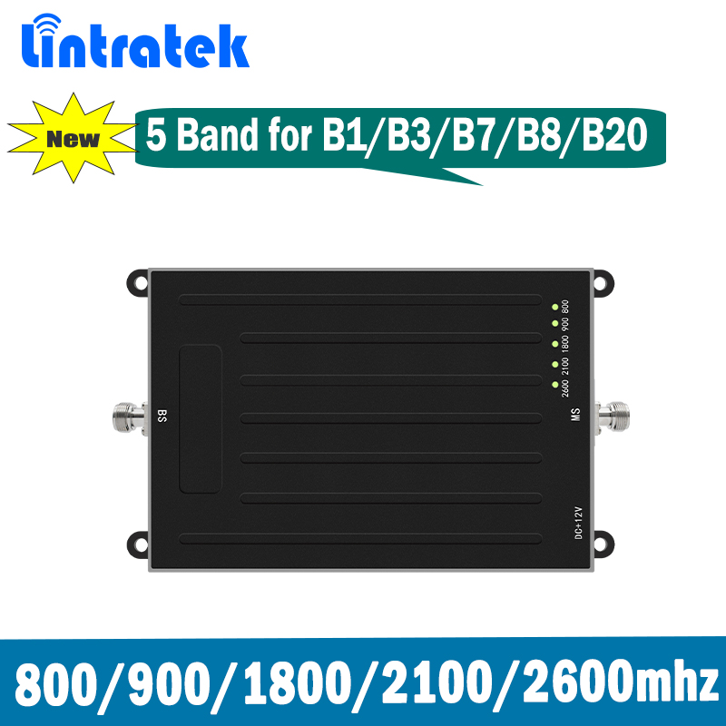 Lintratek 5 Band 2G 3G 4G Signal Repeater GSM DCS UMTS LTE 800(B20) 900(B8) 1800(B3) 2100(B1) 2600(B7) Mobile Signal Booster @73
