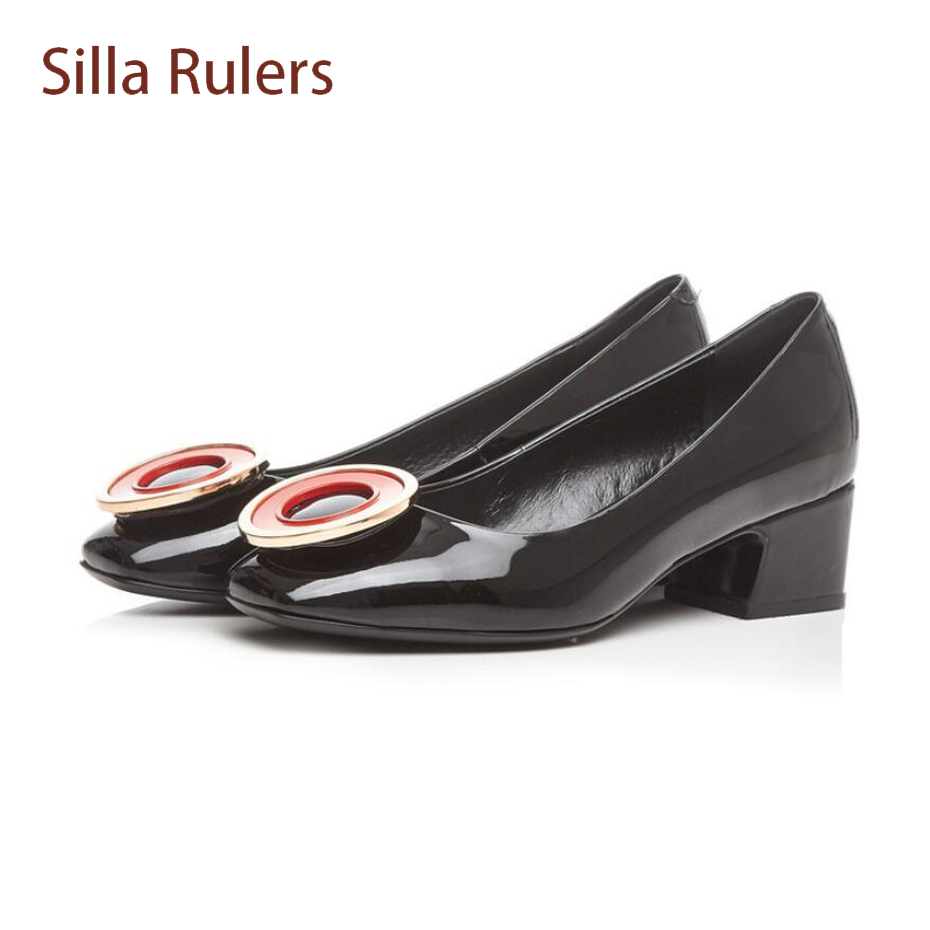 Silla Rulers fashion mixed round ring decor spring new shoes comfort med heel shallow mouth single shoes euramerican women pumps mixed ring pack 10pcs