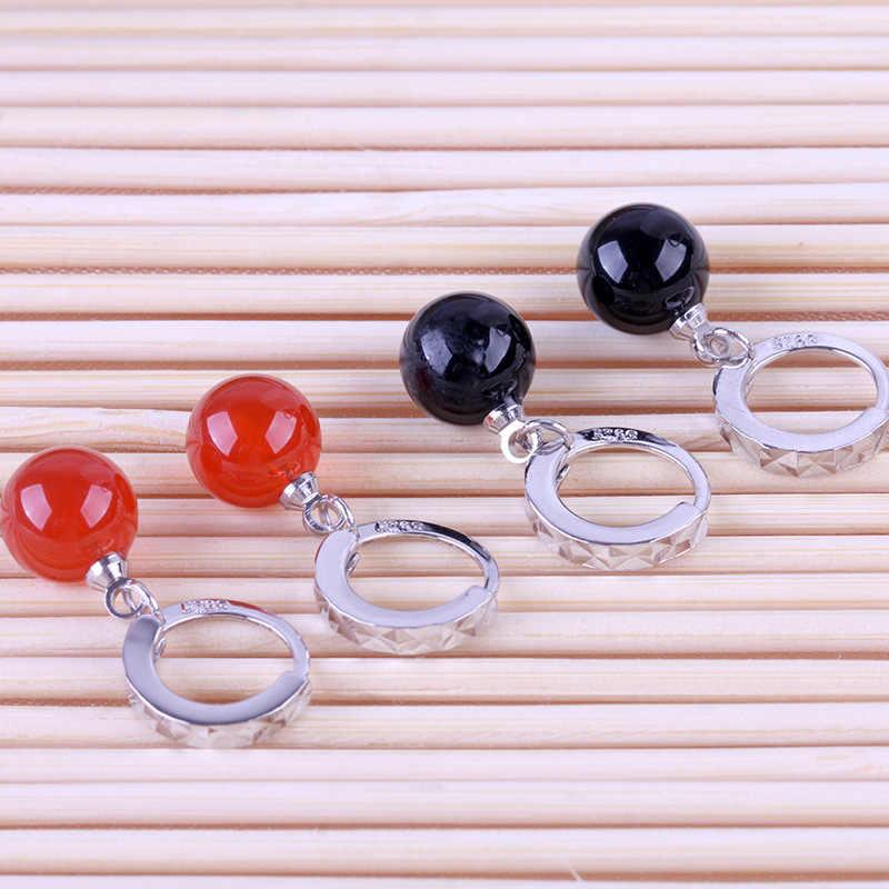 Kualitas tinggi Baru Kedatangan Bersinar Batu Alam Merah Hitam Perak Disepuh Anting Rumbai Panjang Hadiah Pernikahan Wanita Perhiasan