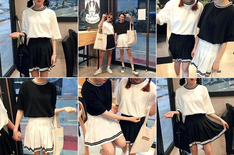 Корейская Летняя мода, юбка с высокой талией, бальная, британский стиль, кавайная, винтажная, короткая юбка в складку, юбки в стиле Харадзюку для женщин