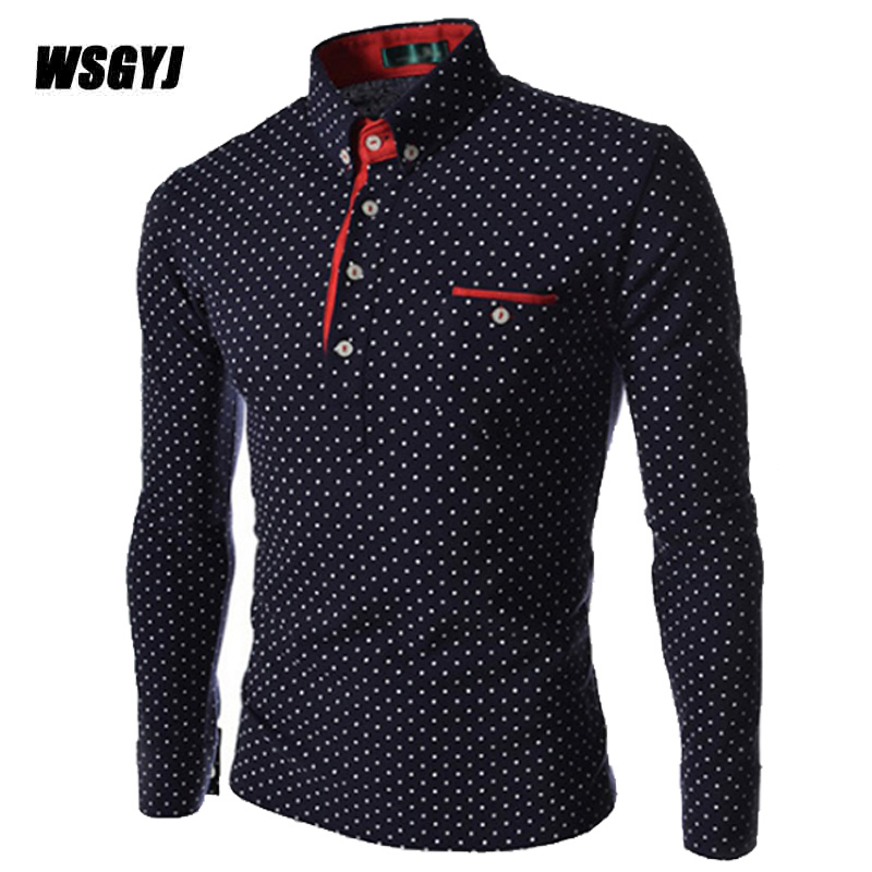 2017 New Brands Mens Dot Long Sleeve   POLO   Shirts Brands Long Sleeve Camisas   Polo   Stand Collar Male   Polo   Shirt Size M-3XL 019