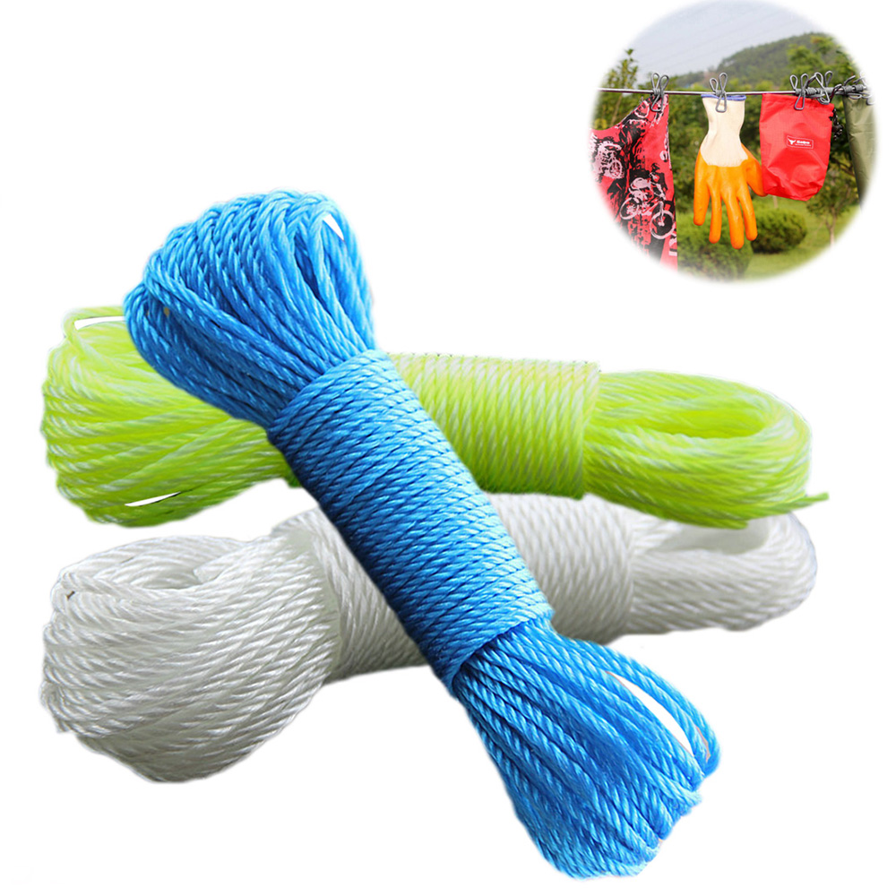 10m/20m Clotheslines Long Colored Nylon Rope Climbing Traction Tying Shade Net Rope Clothesline Garden Supplies