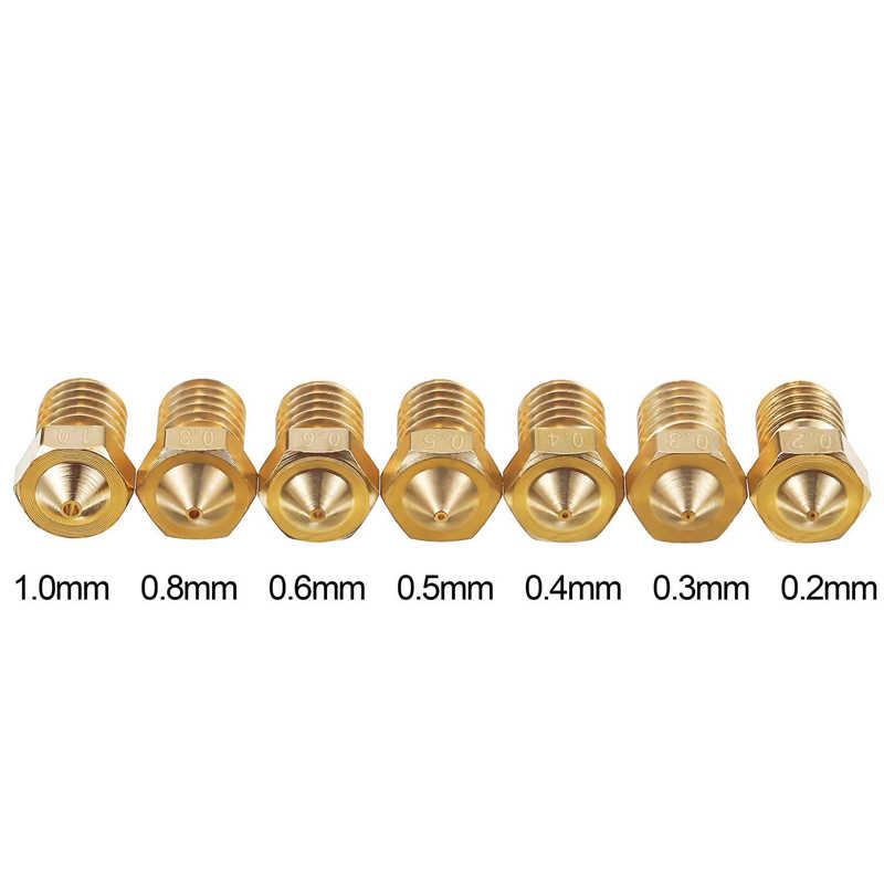 3D Printer Nozzle V5 V6 M6 threaded Nozzle 0.2 0.3 0.4 0.5 0.6 0.8 1.0mm for 1.75mm 3.0mm filament Full Metal 3D Printer Parts