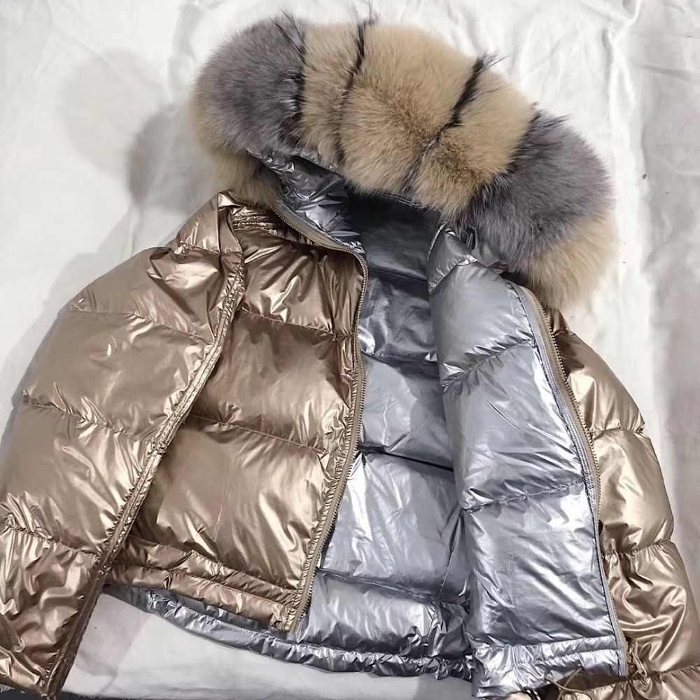 FTLZZ женское двустороннее серебряное Золотое пуховое пальто, зимнее большое натуральное меховое пальто с воротником, водонепроницаемая куртка с капюшоном, зимняя верхняя одежда