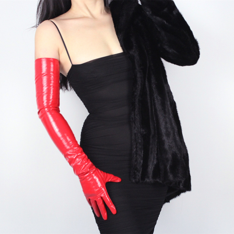 Women's Ultra Long Faux Patent PU Leather Long Red Color Gloves Female Fashion Party Dress Long Leather Glove 70cm R1286