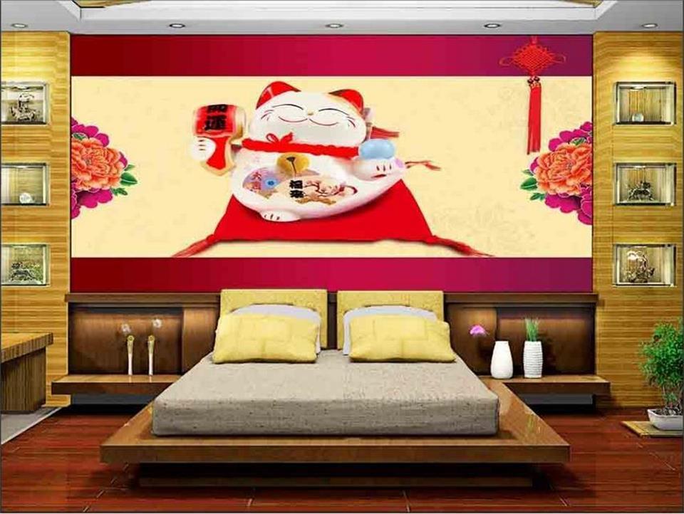 3d chambre papier peint personnalisé photo non,tissé mural rouge chanceux  chat pivoine chinois noeud