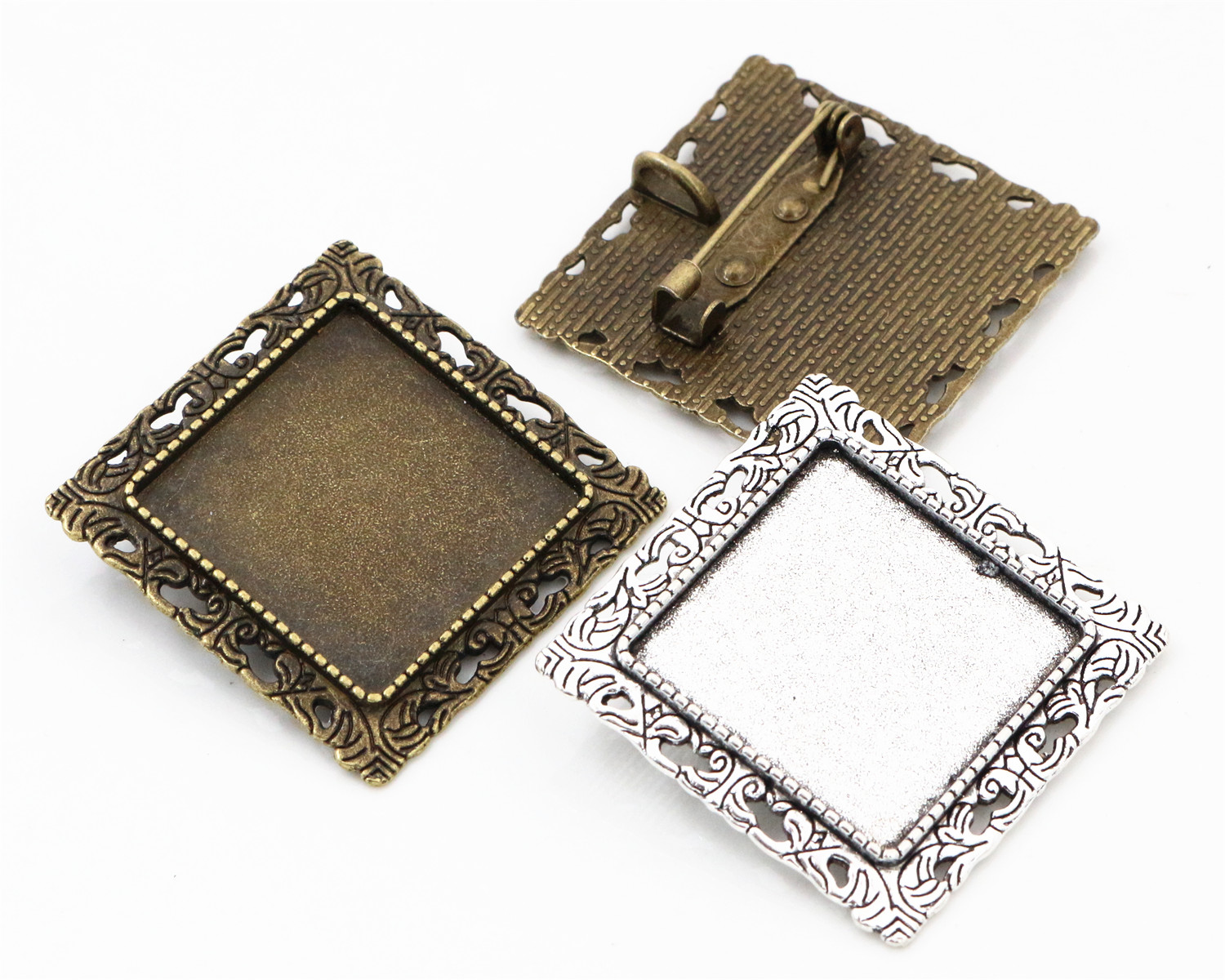 New Fashion  2pcs 25mm Inner Size Antique Silver and Bronze Brooch Square Cabochon Base Setting New Fashion  2pcs 25mm Inner Size Antique Silver and Bronze Brooch Square Cabochon Base Setting