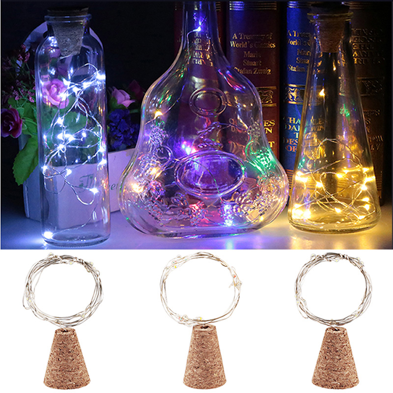 10pcs 1.4M 15LED Garland Silver Wire Corker String Fairy Lights Wooden Bottle New Year Christmas Valentines Wedding Decoration
