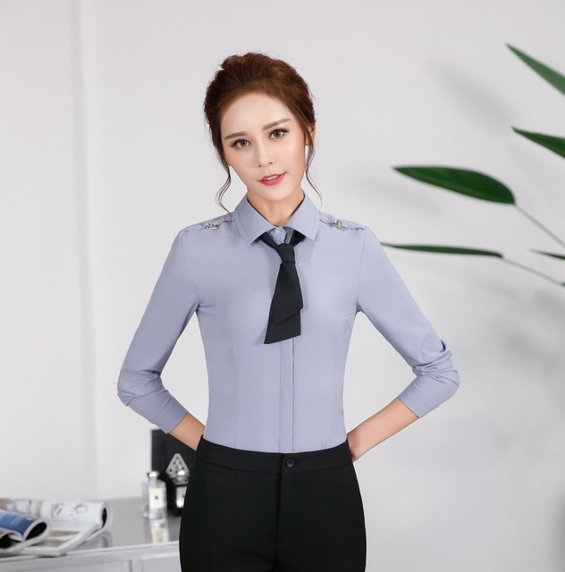 Spring and Autumn Formal Grey Shirts Women Work Blouses with Tie ...