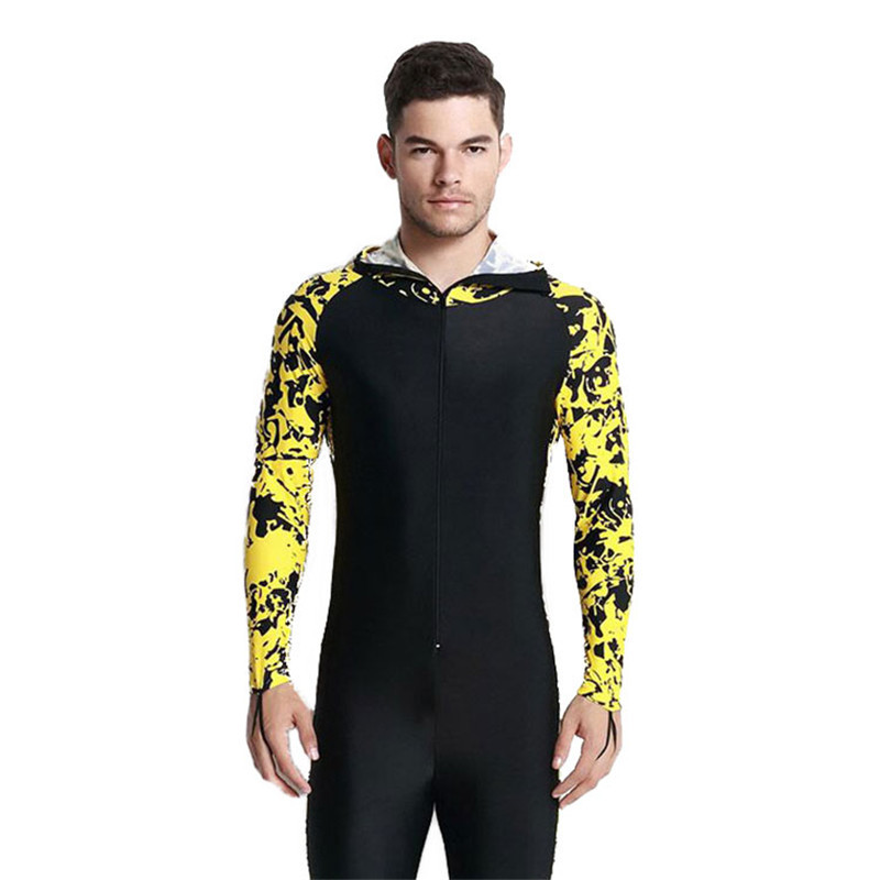 0c8307248f32 Men Snorkeling Suits Diving Wetsuit Sunscreen One piece Long Sleeved Nylon  and Lycra Swimming Surfing Wetsuit Foot Pants-in Wetsuit from Sports ...