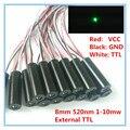 Внешний TTL контроль 8 мм 1 мВт 5 мВт 10 мВт 520нм зеленый точечный лазерный диодный модуль промышленного класса APC драйвер TYLASERS