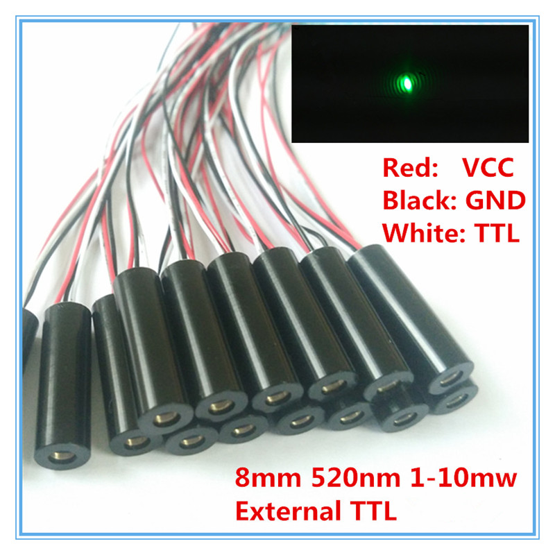 External TTL Control 8mm 1mW 5mW 10mW 520nm Green Dot Laser Diode Module Industrial Grade APC Driver TYLASERS 658nm 5mw 62 5 125um fc apc red laser pigtail fiber diode module 12vdc ttl 1m