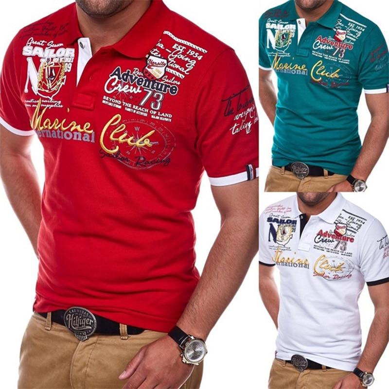 a32ea4ea2468058 Zogaa 2019 Новая модная Классическая однотонная мужская рубашка с отворотом  с коротким рукавом рубашки поло Slim Fit отложной воротник с буквенным .